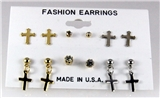 4031304 6 Pair Christian Cross CZ Stud Earring Set Gold Rhodium Silver Cubic ...