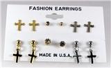 4031304 6 Pair Christian Cross CZ Stud Earring Set Gold Rhodium Silver Cubic ...