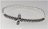 4031321 Petite Silver Tone Christian Cross Stretch Beaded Sideways Bracelet