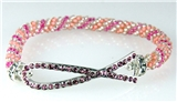4031324 Pink Ribbon Breast Cancer Awareness Stretch Bracelet Beaded Support Cure