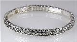 4031332 Designer Inspired Fashion Stretch Bracelet Silver Tone Design