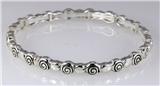 4031334 Designer Inspired Fashion Stretch Bracelet Silver Tone Design