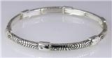 4031335 Designer Inspired Fashion Stretch Bracelet Silver Tone Design