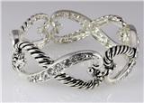 4031336 Designer Inspired Fashion Stretch Eternity Bracelet Silver Tone Design