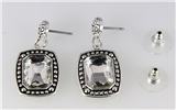 4031338 Designer Inspired Fashion Earrings Rope Design Silver Tone