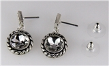 4031339 Designer Inspired Fashion Earrings Rope Design Silver Tone