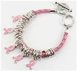 4031343 Pink Ribbon Breast Cancer Awareness Leather Braid Bracelet Beaded Sup...