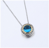 4031352 Designer Inspired Aquamarine Blue CZ Pendant Necklace 2 Tone With Chain