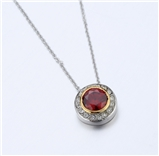 4031355 Designer Inspired Ruby Red CZ Pendant Necklace 2 Tone With Chain