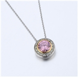 4031356 Designer Inspired Pink Tourmaline CZ Pendant Necklace 2 Tone With Chain