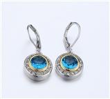 4031358 Designer Inspired Aquamarine Blue CZ Earrings 2 Tone