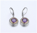 4031359 Designer Inspired Amethyst Purple CZ Earrings 2 Tone