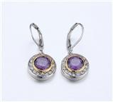 4031359 Designer Inspired Amethyst Purple CZ Earrings 2 Tone