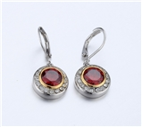 4031360 Designer Inspired Ruby Red CZ Earrings 2 Tone