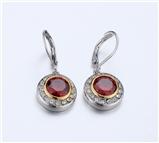 4031360 Designer Inspired Ruby Red CZ Earrings 2 Tone