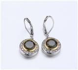 4031361 Designer Inspired Peridot Olive Green CZ Earrings 2 Tone