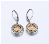 4031362 Designer Inspired Champagne Cognac CZ Earrings 2 Tone