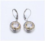 4031363 Designer Inspired Clear CZ Diamond Earrings 2 Tone