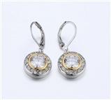 4031363 Designer Inspired Clear CZ Diamond Earrings 2 Tone