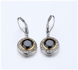 4031364 Designer Inspired Black Onyx CZ Earrings 2 Tone