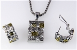 4031368 Designer Inspired 2 Tone Fashion Necklace and Earring Set