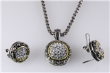 4031369 Designer Inspired 2 Tone Fashion Necklace and Earring Set