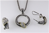 4031370 Designer Inspired 2 Tone Fashion Necklace and Earring Set