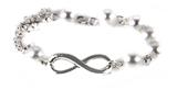 4031401 Infinity Bracelet Pearl Like Beads & Chain Eternity Fashion Jewelry