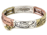 4031411 Angel Blessing Tri Tone Stretch Bracelet Heart Charm 1 Corinthians Sc...