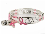 4031414 Fight Like A Girl Stretch Bracelet Hope For A Cure Pink Ribbon Breast...