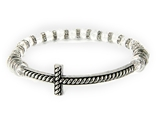 4031426 Beaded Cross Stretch Bracelet Clear Beads Rhinestones Christian Fashion