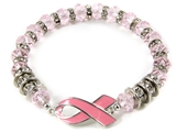 4031427 Beaded Pink Ribbon Stretch Bracelet Hope Cure We Can Make A Differenc...