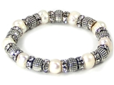 4031429 Beaded Fashion Stretch Bracelet Simulated Pearls & Rhinestones