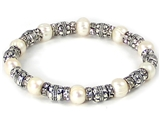 4031430 Beaded Fashion Stretch Bracelet Simulated Pearls & Rhinestones