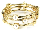 4031432 Set of 3 Twisted Barb Wire Bangle Bracelet Barbed Gold Tone Simulated...