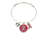 4031439 Breast Cancer Pink Ribbon Expandable Bangle Support Hope Research