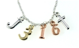 4031466 John 3:16 Initials Necklace Scripture Verse For God So Loved The Worl...