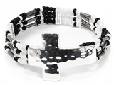 4031489 Delicate Beaded Cross Bracelet Christian Fashion Religious Detailed
