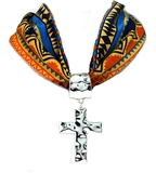 4031514 Scarf Style Cross Necklace Orange Design Fabric Material Fashion
