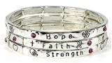 4031526 Stretch Bracelet Set 3 Separate Bracelets Pink Ribbon Breast Cancer A...