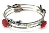 4031531 Breast Cancer 3 Piece Bangle Set Pink Ribbon Cancer Awareness Strength...