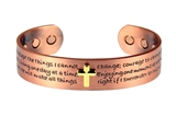 4031671 Solid Copper Magnetic Cuff Bracelet Bangle Serenity Prayer Message Ch...