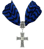 4031515 Scarf Style Cross Necklace Blue & Black Chevron Design Fabric Materia...
