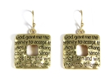 5030002 Serenity Prayer Earrings Christian 12 Step AA One Day At A Time