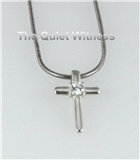 5030005 Silver Plated Christian Cross Necklace with Beautiful CZ Stone Religious