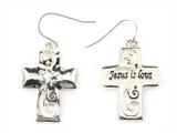 5030010 Jesus is Lord Cross Christian Scripture Bible Religious Earrings