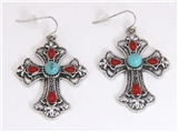 5030020 Turquoise & Coral Cross Christian Religious Earrings