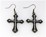 5030023 Cross Earrings CZ Diamond Antique Brushed Filigree Christian Religious