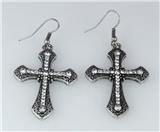 5030024 Cross Earrings CZ Diamond Antique Brushed Filigree Christian Religious
