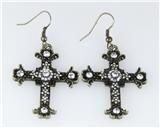 5030025 Cross Earrings CZ Diamond Antique Brushed Filigree Christian Religious